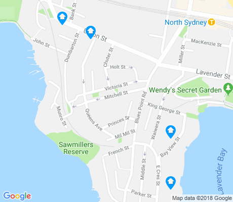 map of McMahons Point apartments for rent