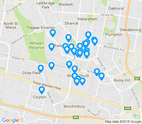 map of Mount Druitt apartments for rent