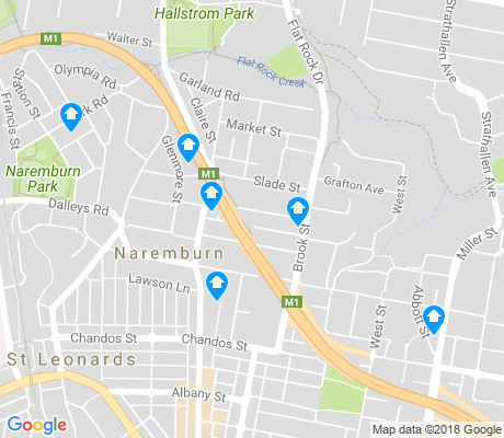 map of Naremburn apartments for rent