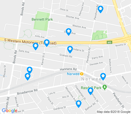 map of Narwee apartments for rent