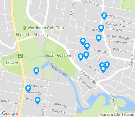 map of North Manly apartments for rent