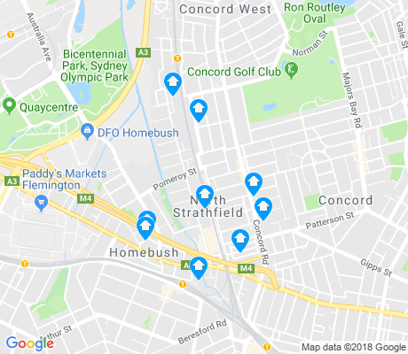 map of North Strathfield apartments for rent