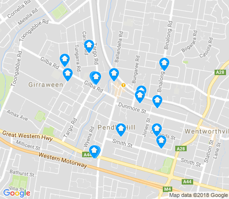 map of Pendle Hill apartments for rent