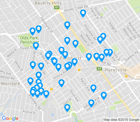 map of Penshurst apartments for rent