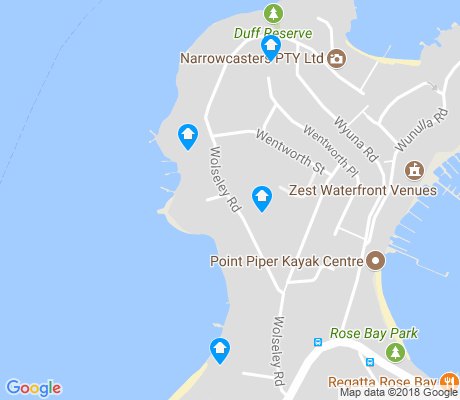 map of Point Piper apartments for rent