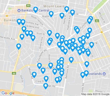 map of Punchbowl apartments for rent