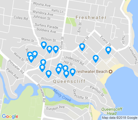 map of Queenscliff apartments for rent