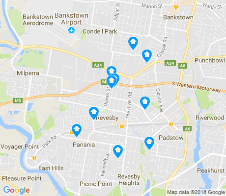 map of Revesby apartments for rent