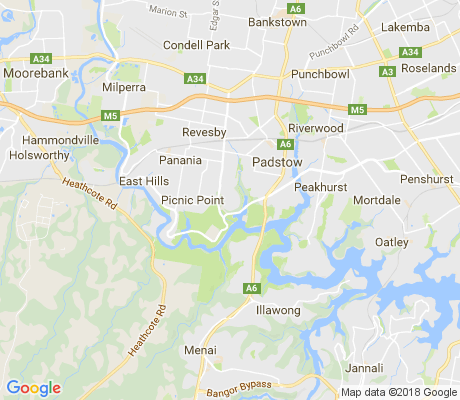 map of Revesby Heights apartments for rent