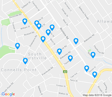 map of South Hurstville apartments for rent