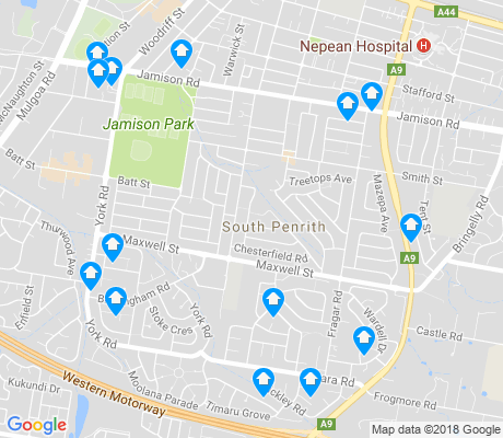 map of South Penrith apartments for rent