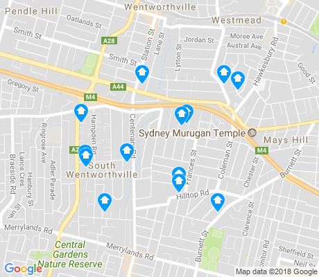 map of South Wentworthville apartments for rent