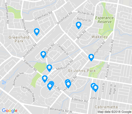 map of St Johns Park apartments for rent