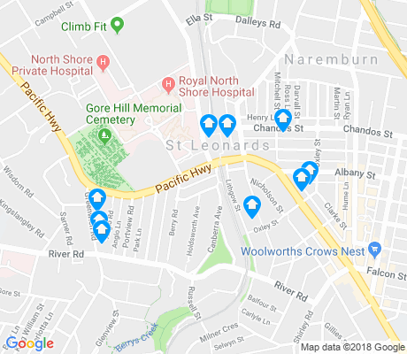 map of St Leonards apartments for rent