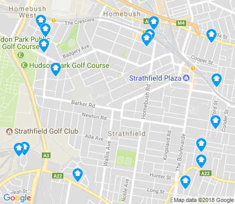 map of Strathfield apartments for rent