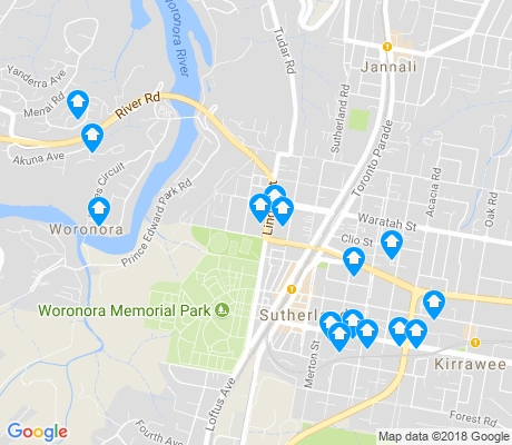 map of Sutherland apartments for rent