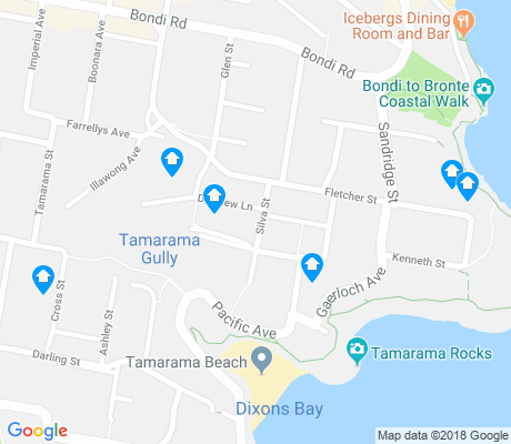 map of Tamarama apartments for rent