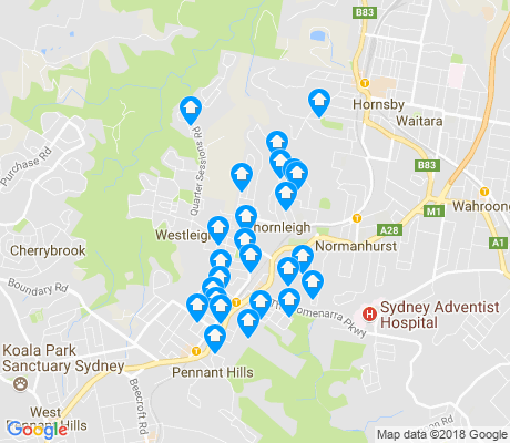 map of Thornleigh apartments for rent