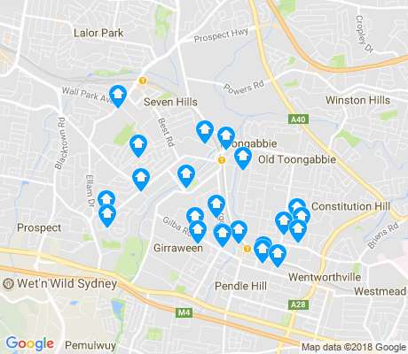 map of Toongabbie apartments for rent