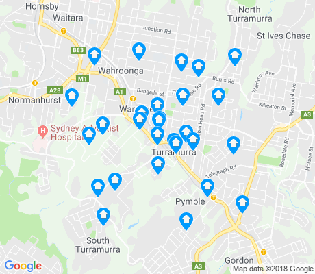 map of Turramurra apartments for rent