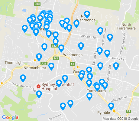 map of Wahroonga apartments for rent