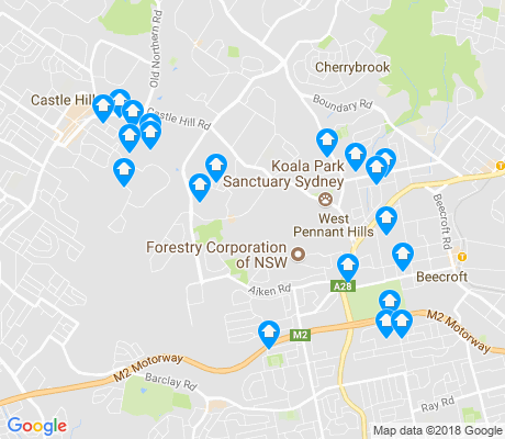 map of West Pennant Hills apartments for rent