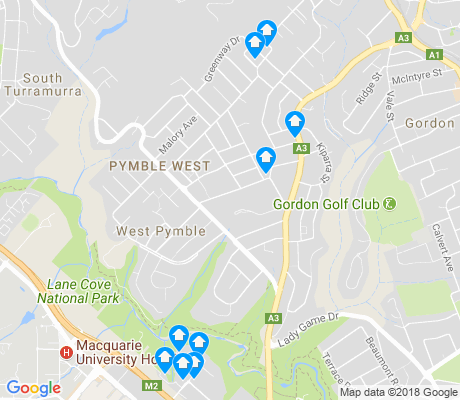 map of West Pymble apartments for rent