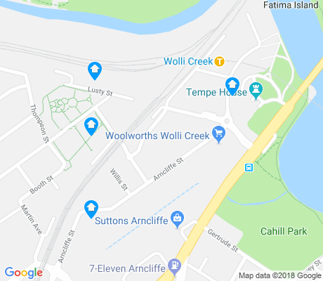 map of Wolli Creek apartments for rent