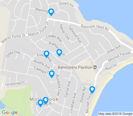 map of Mollymook Beach apartments for rent