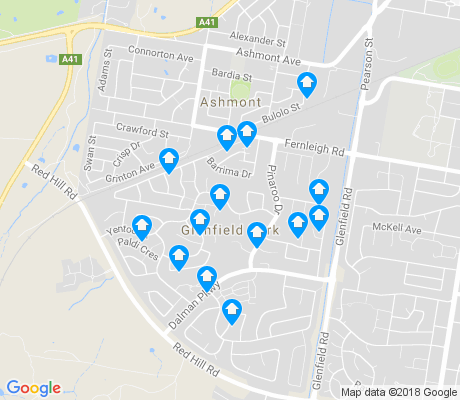map of Glenfield Park apartments for rent