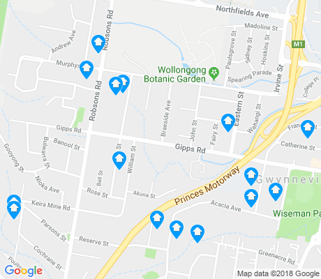 map of Keiraville apartments for rent