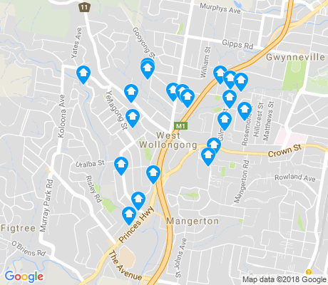 map of West Wollongong apartments for rent
