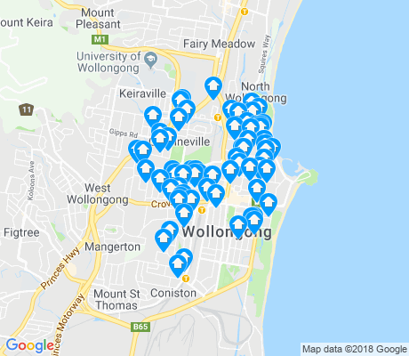 map of Wollongong apartments for rent
