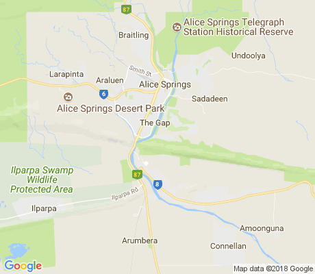 map of Alice Springs apartments for rent