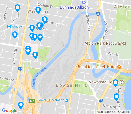map of Bowen Hills apartments for rent