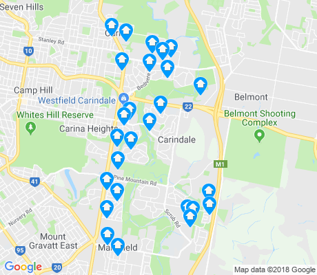 map of Carindale apartments for rent