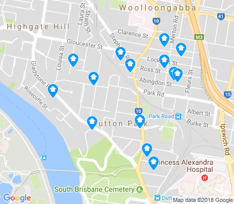 map of Dutton Park apartments for rent