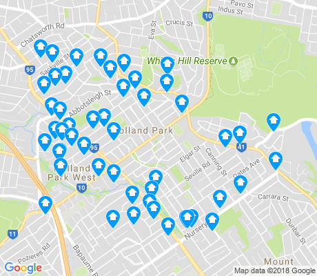 map of Holland Park apartments for rent