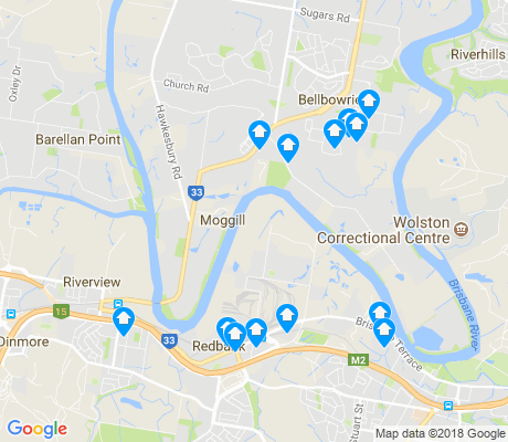 map of Moggill apartments for rent