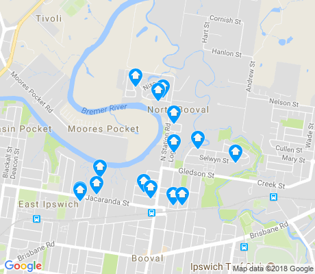 map of North Booval apartments for rent