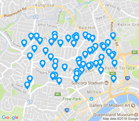 map of Paddington apartments for rent
