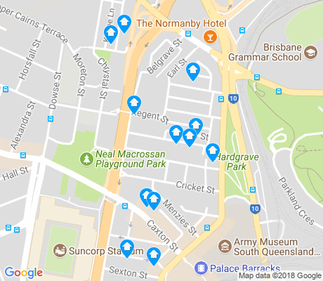 map of Petrie Terrace apartments for rent