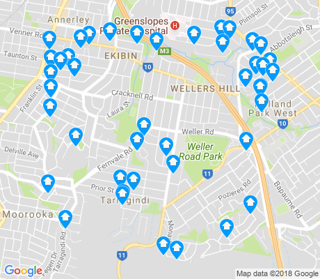 map of Tarragindi apartments for rent