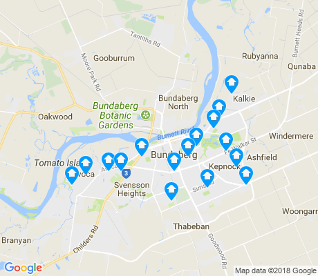 map of Bundaberg apartments for rent