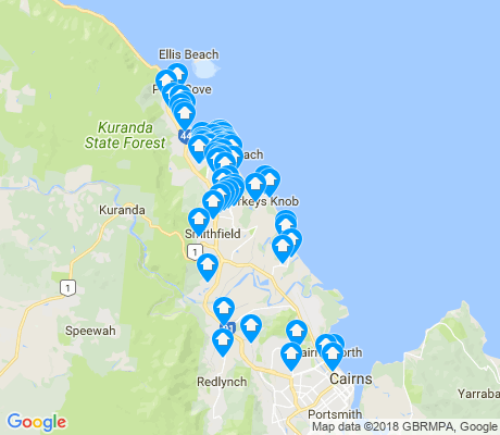 map of Cairns apartments for rent