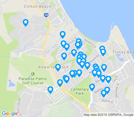 map of Kewarra Beach apartments for rent