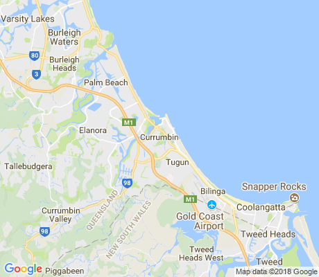 map of Currumbin apartments for rent