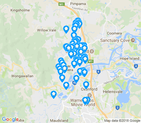 map of Upper Coomera apartments for rent