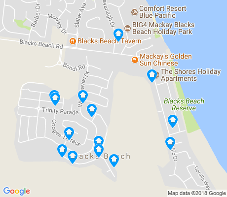map of Blacks Beach apartments for rent