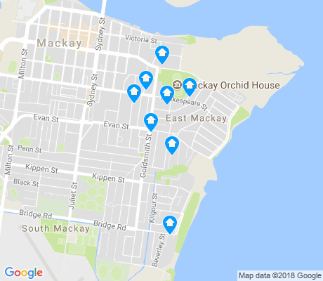 map of East Mackay apartments for rent
